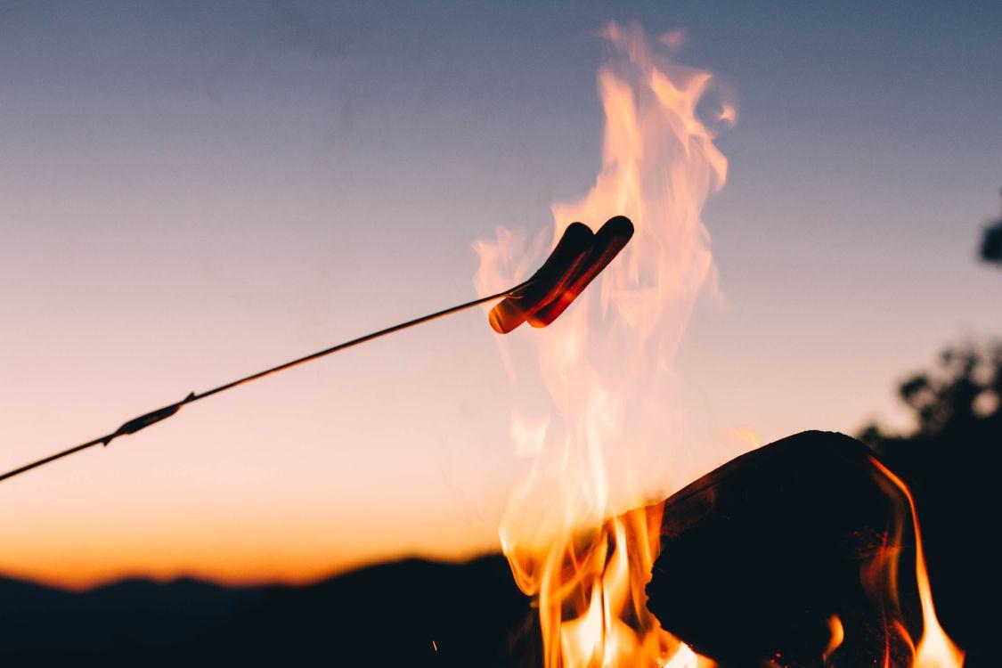 Обои дым, Кемпинг, вечер, огонь, ночь в разрешении 5184x3456
