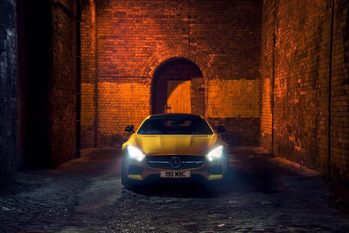 Обои mercedes benz sls amg, освещение, mercedes benz, желтый, Мерседес АМГ в разрешении 4096x2730