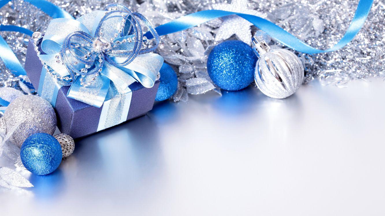 Обои подарок, Рождество, рождественский орнамент, синий, Рождественский день в разрешении 4800x2700