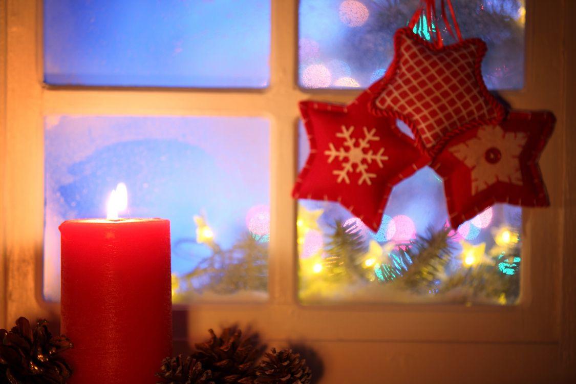 Обои окно, освещение, мотив, праздник, Рождество в разрешении 5616x3744