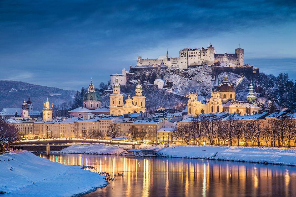 Обои замок, зима, достопримечательность, снег, небо в разрешении 6000x4000